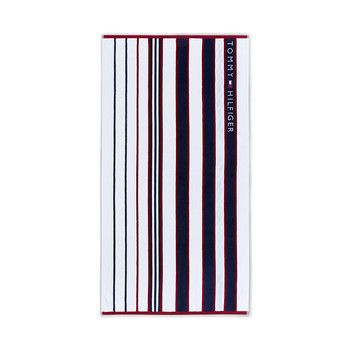 Tommy Hilfiger Blue Red Striped Beach Towel Stripes In