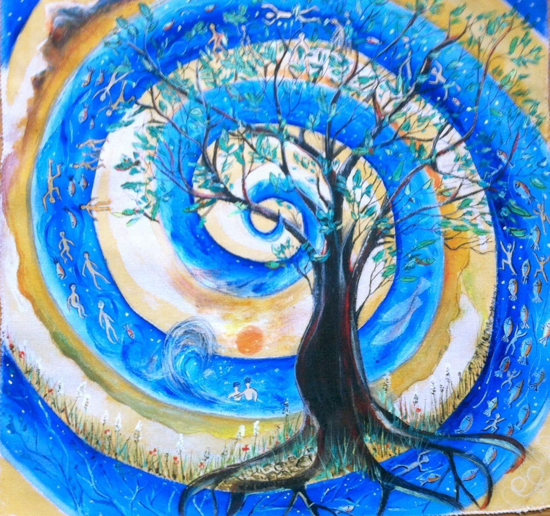 """Bemalte Kissenhülle """"Baum des Lebens"""" 40 X 40 cm Baum"""