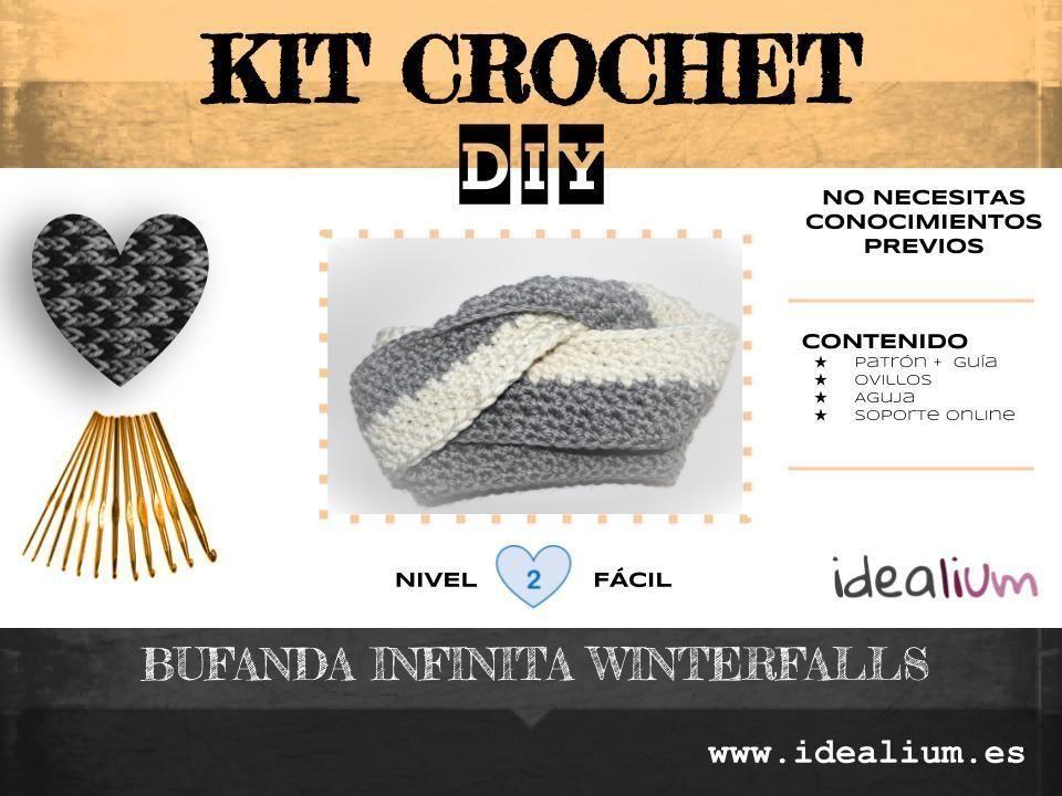 Kit crochet: Bufanda infinita Winterfalls | Crochet Moda | Pinterest