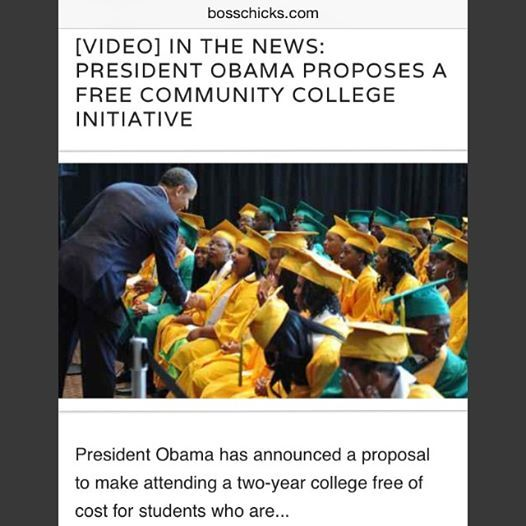 "TRA - #TheHoneyBoom #GoodCleanStories #NoShadeNoTea ""America's College Promise"" initiative, as announced by President Barack Obama. The initiative will waive the tuition costs of over 1000 of the United States' community colleges with the prerequisite that students who submit enroll at least under half-time status, maintains a 2.5 grade point average, and shows signs of ""steady progress"". #LookgoodFeelgood www.therightaccessories.com TUMBLR / INSTAGRAM / TWITTER / PINTREST/ FACEBOOK"