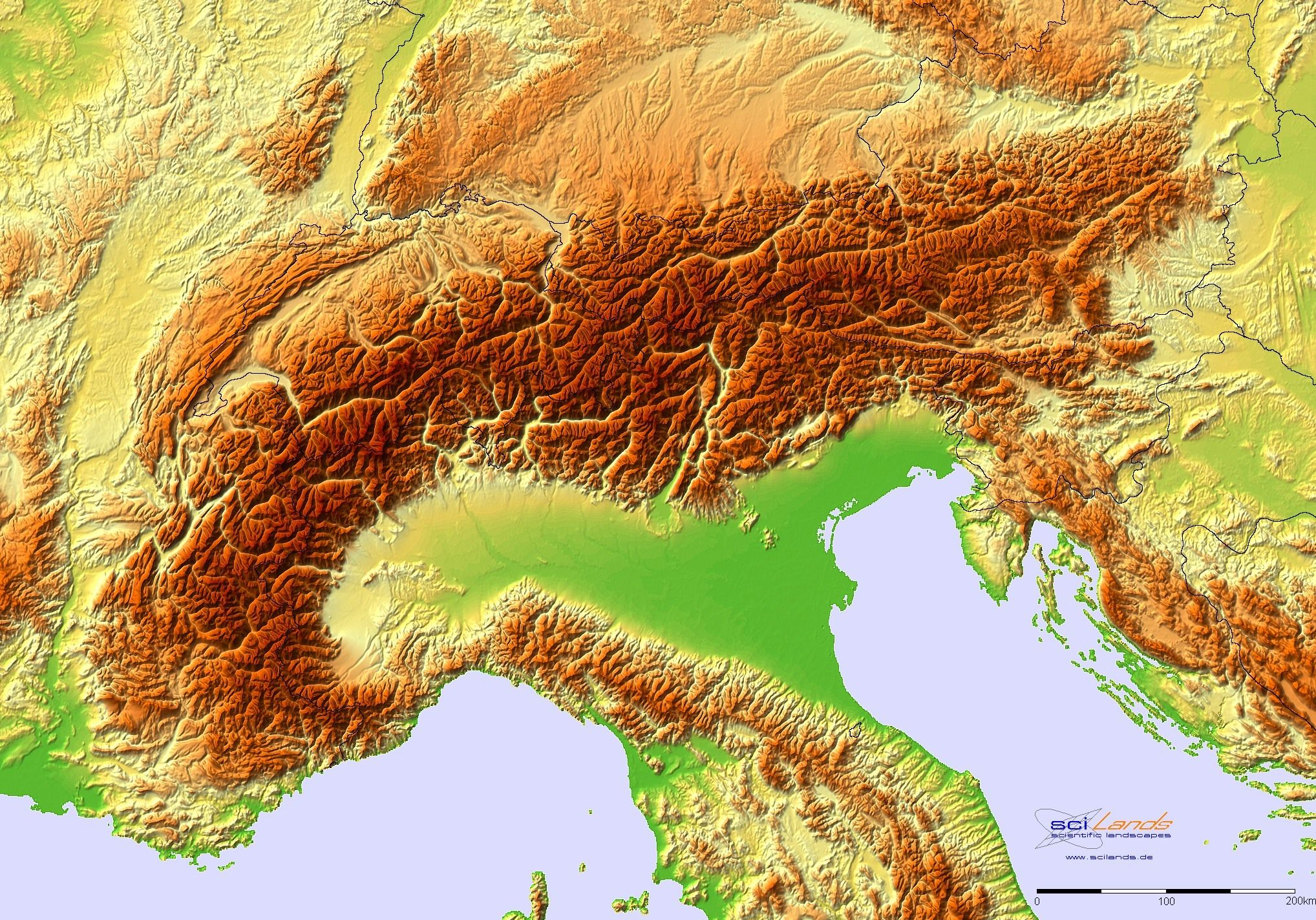 Terrain Map Of The Alps Mapmania Pinterest European Map Map