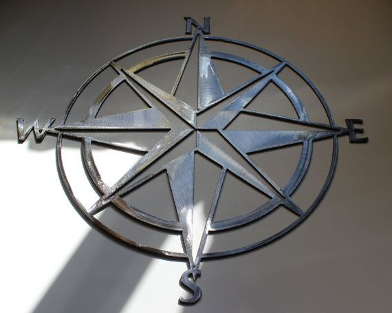 Nautical Compass Rose Wall Art Metal Decor Silver. Iu0027m dying over this.