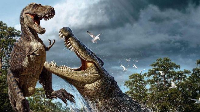 Un Deinosuchus sorprende a un Albertosaurus (cocodrilo eusuchio del Cretácico, 75MA) (Raúl Martín)