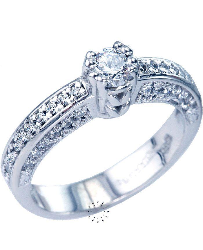 Μονόπετρο δαχτυλίδι 14 καράτια Λευκόχρυσο 349€  http   www.kosmima.gr product info.php products id 9468  0c9487375f9