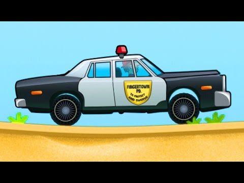 hill climb racing police car game cartoon for kids