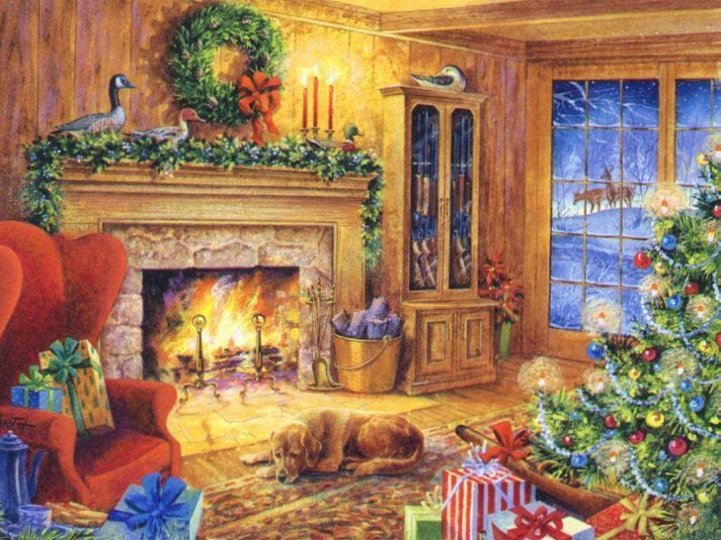 Weihnachtsbilder Kamin.Christmas Paintings Wallpaper Free Christmas Wallpapers Kids