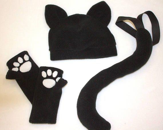 Eine Katze Kostüm Accessoires aus weichem Fleece und besteht aus Hut ...
