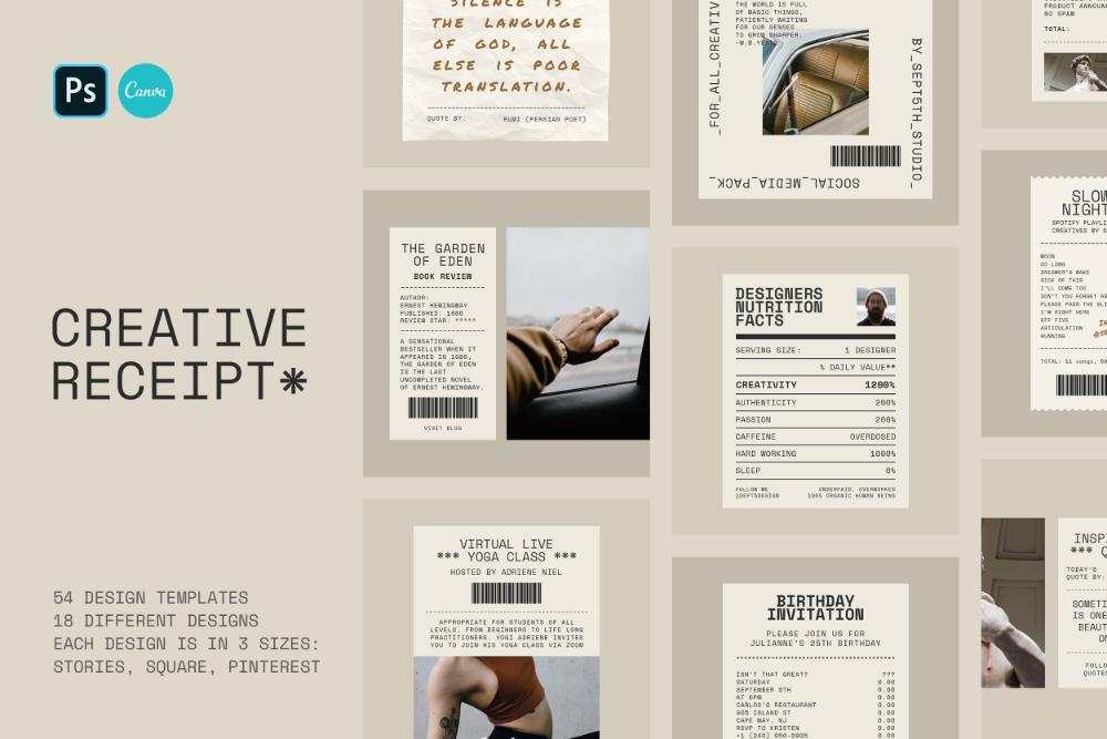 Creative Receipt Social Media Pack Social Media Pack Social Media Template Book Cover Design Template