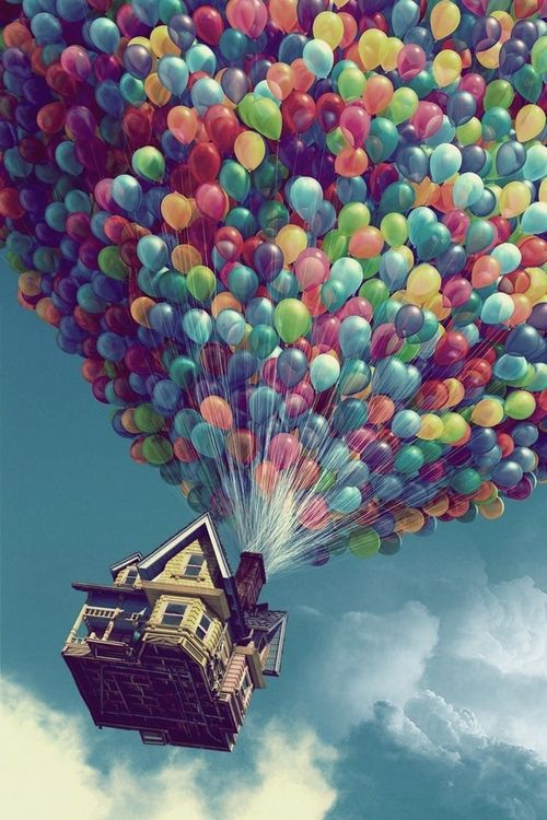 """we can also use this actual photo from Up with the balloons in the sky because of the """"fly with Pi Phi"""" and clouds"""