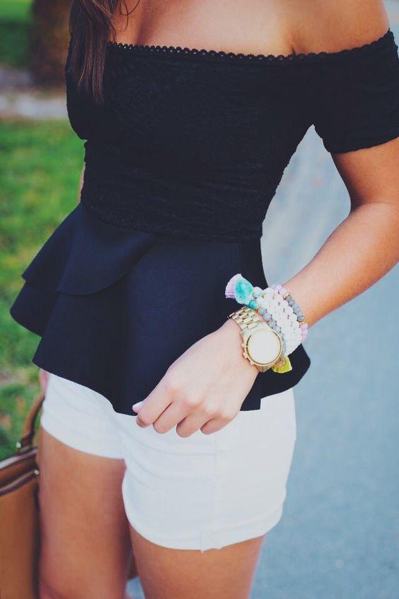 #summer #outfits / off the shoulder black top
