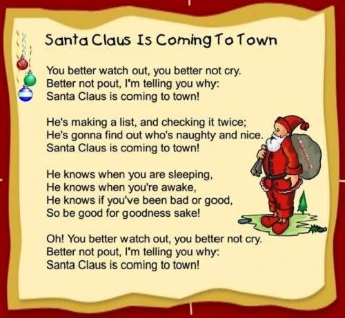 Santa Claus Is Coming To Town Lyrics Printable For Kids Christmas Carols For Kids Christmas Songs For Kids Preschool Christmas Songs