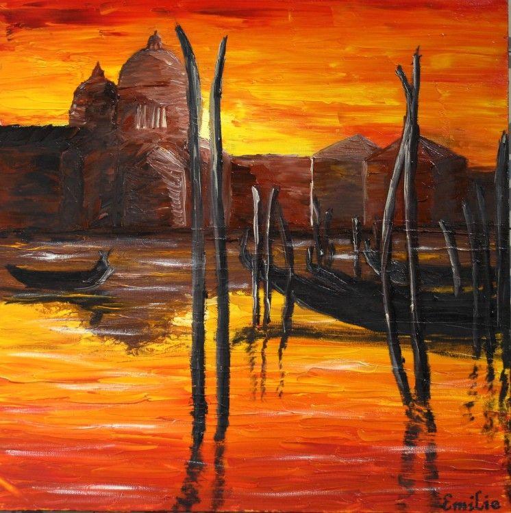 Venise coucher de soleil peinture huile en 2019 art - Dessin coucher de soleil ...