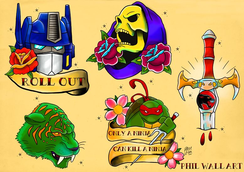 crimpity: philwallart: A bunch of tattoo flash based on cartoons and ...