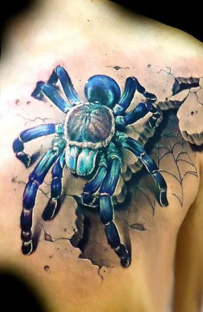 346a02935 Awesome blue 3D tarantula on the shoulder blade. 3d Tattoos, Great Tattoos,  Beautiful