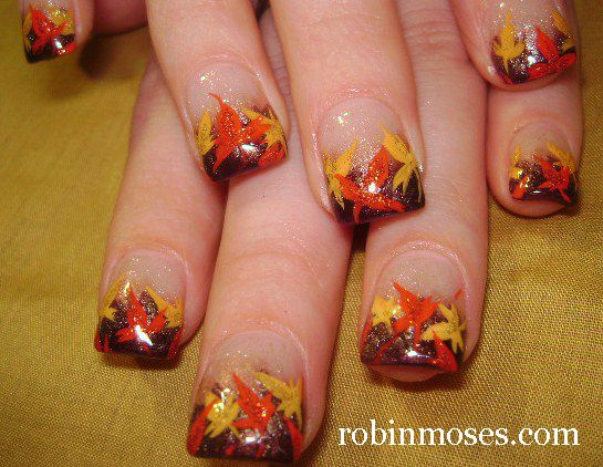 Fall Leaves Red Orange Nails Perfect For Thanksgiving Thanksgiving Nail Art Fall Leaves Nail Art Thanksgiving Nail Designs