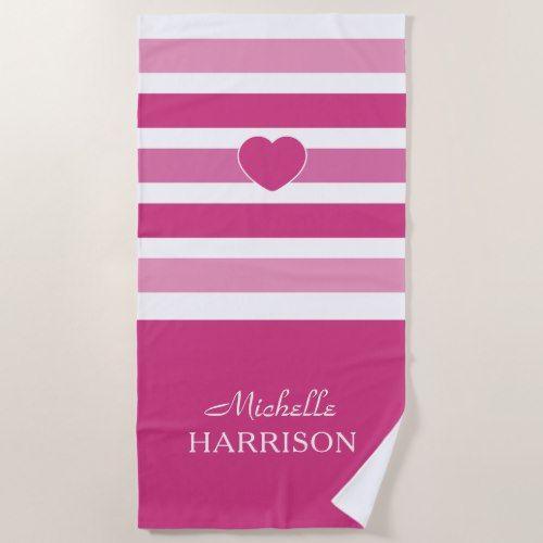 Stripes Pattern Custom Name Beach Towel Zazzle Com Stripes