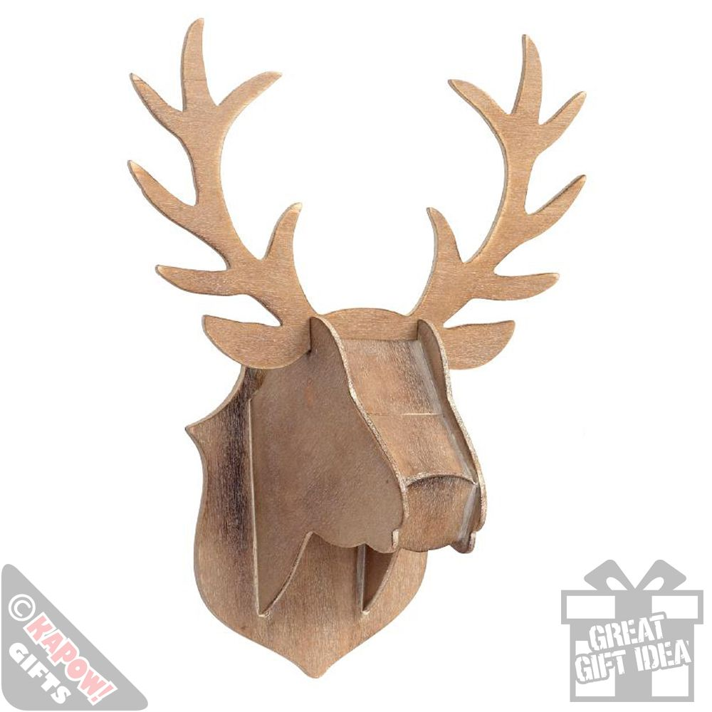 Wooden Stag Head Flat Pack Wall Mounted Home Decor Animal Art Kapow Gifts