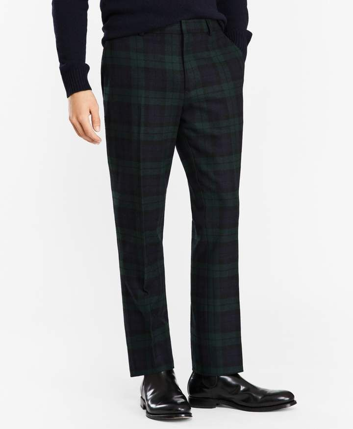 6e3a9492f Brooks Brothers Donegal Lambswool Black Watch Tartan Trousers ...