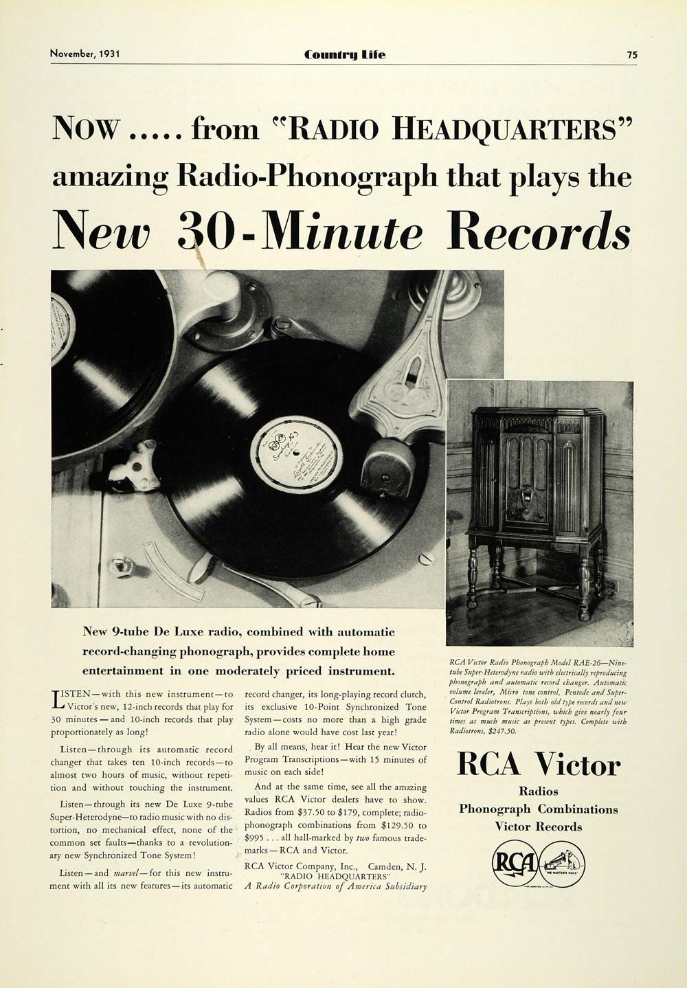 1931 Ad Rca Victor Radio Phonograph Model Rae 26 Antique