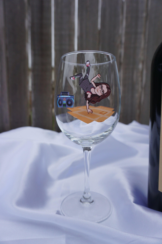 Custom bitmoji wine glass unique personalized gift