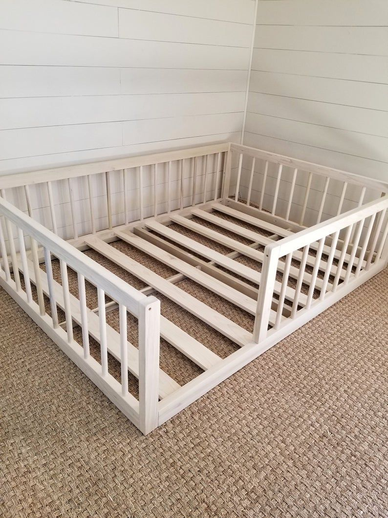 Montessori Floor Bed To Raised Bed Convertible With Rails Twin