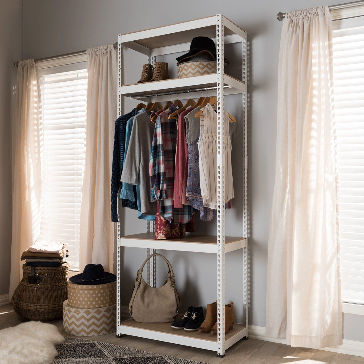Baxton studio gavin white metal shelf closet storage racking