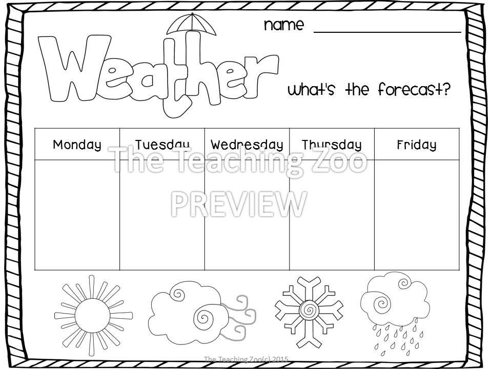 Weather For Preschool And Kindergarten Math Science Ela Weather Theme Preschool Weather Weather Word Wall Weather math worksheets preschool