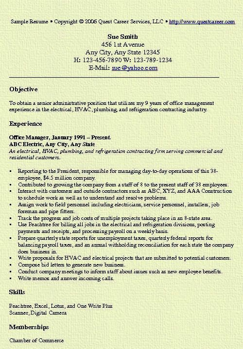 sample resume for office manager resume template resume examples