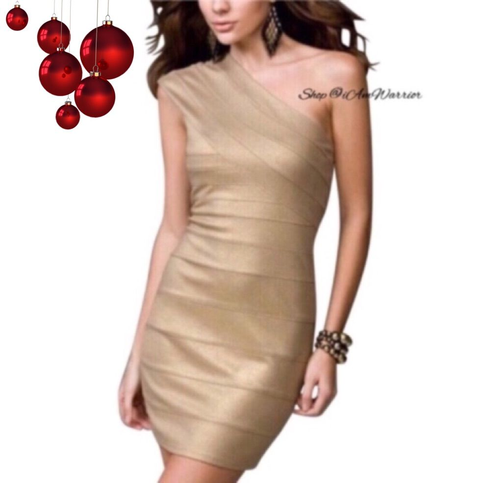 Express gold metallic one shoulder bandage dress products