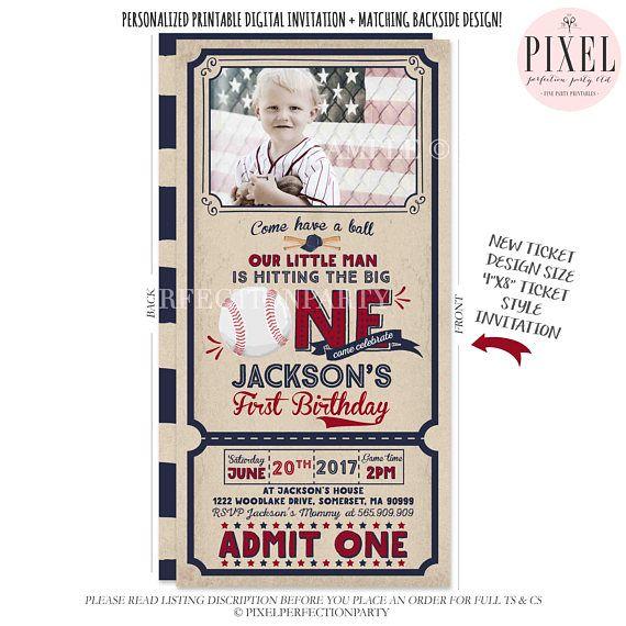 Baseball Birthday Invitation Ticket First Invite Boy 1st Vintage