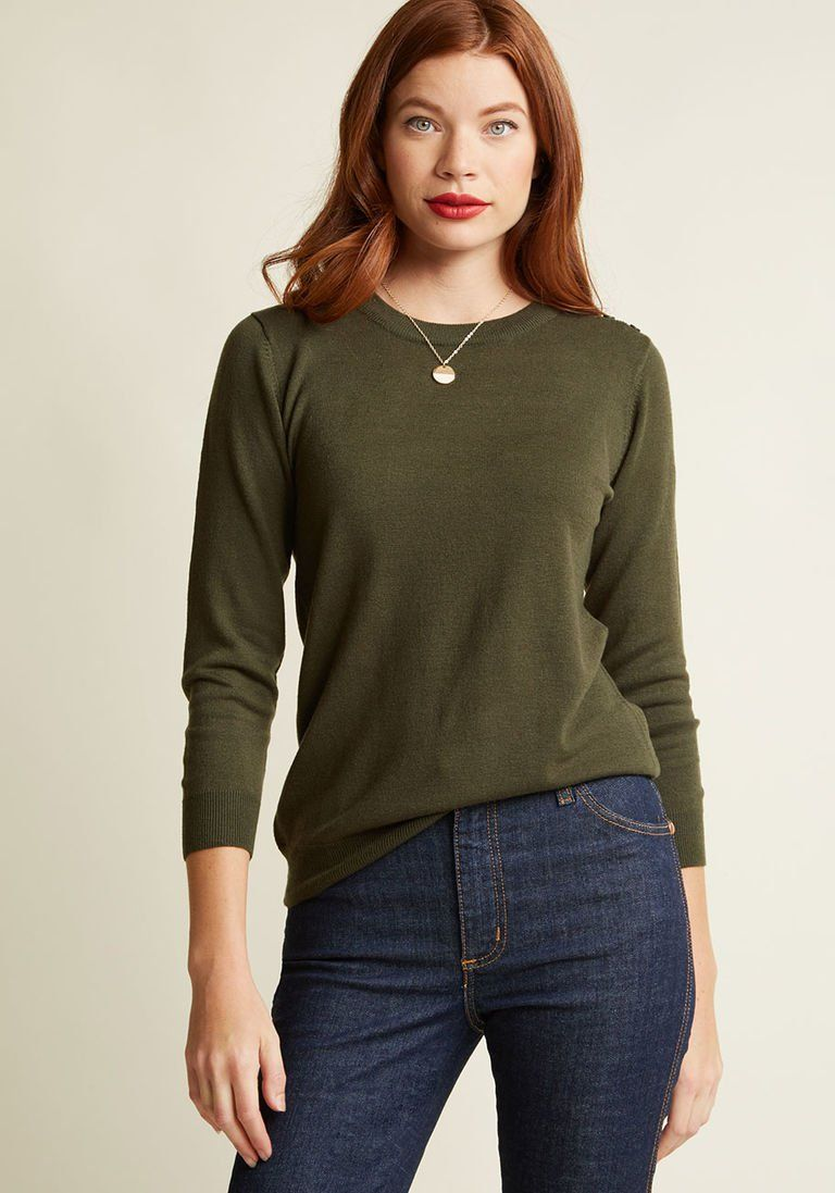 a2bf0314bda Charter School Pullover Sweater in Olive in XXS - Waist by ModCloth