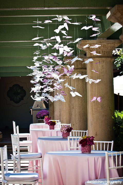 Beautiful Pink and Purple Butterfly Party This whimsical display