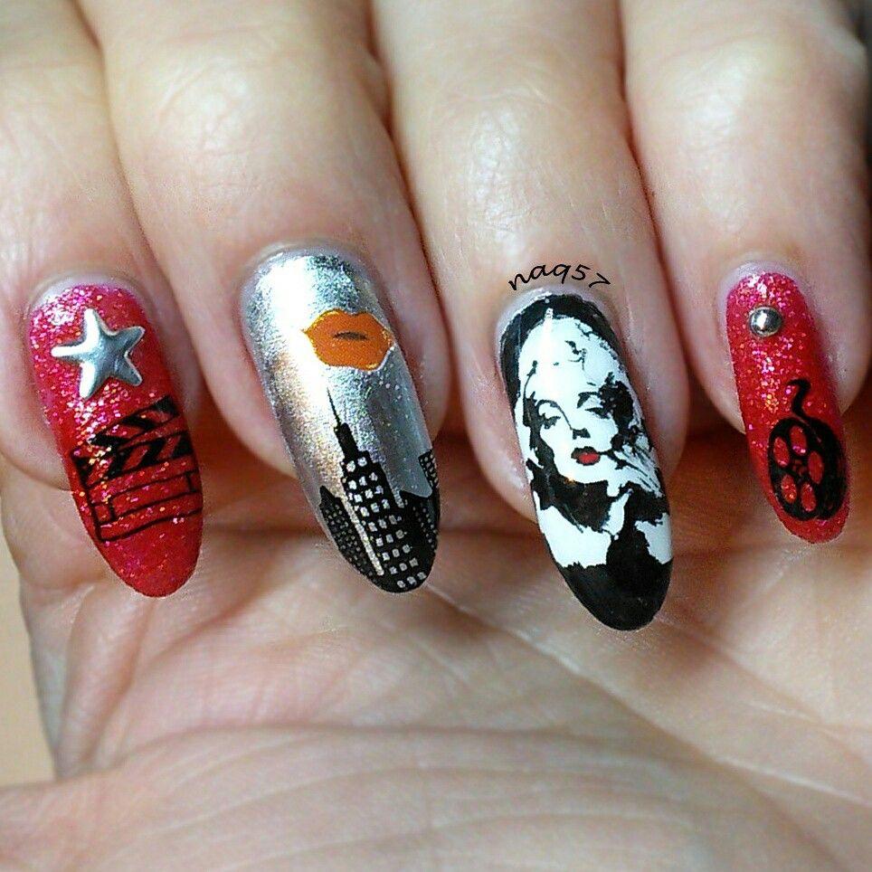 Marilyn Monroe nail art design, movie star | Nail art | Pinterest