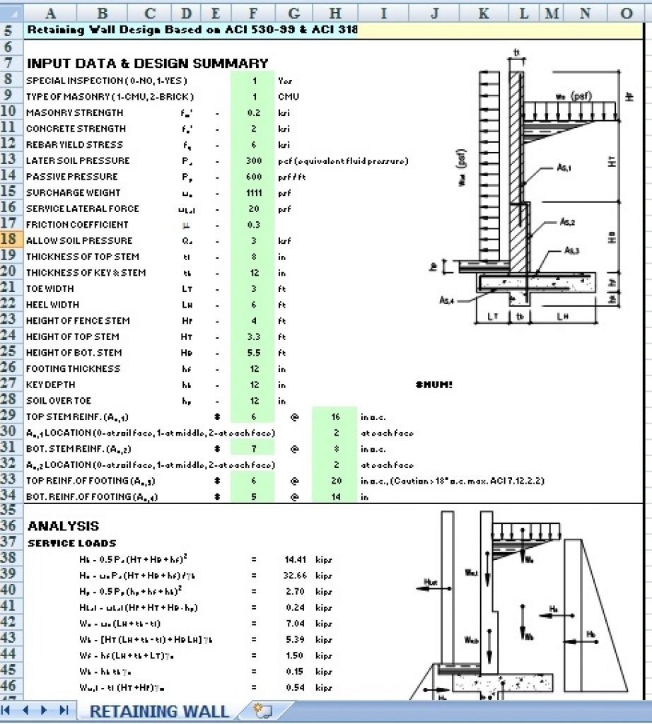 Wall Footing Design Xls : Civil engineering retaining wall design spreadsheet http