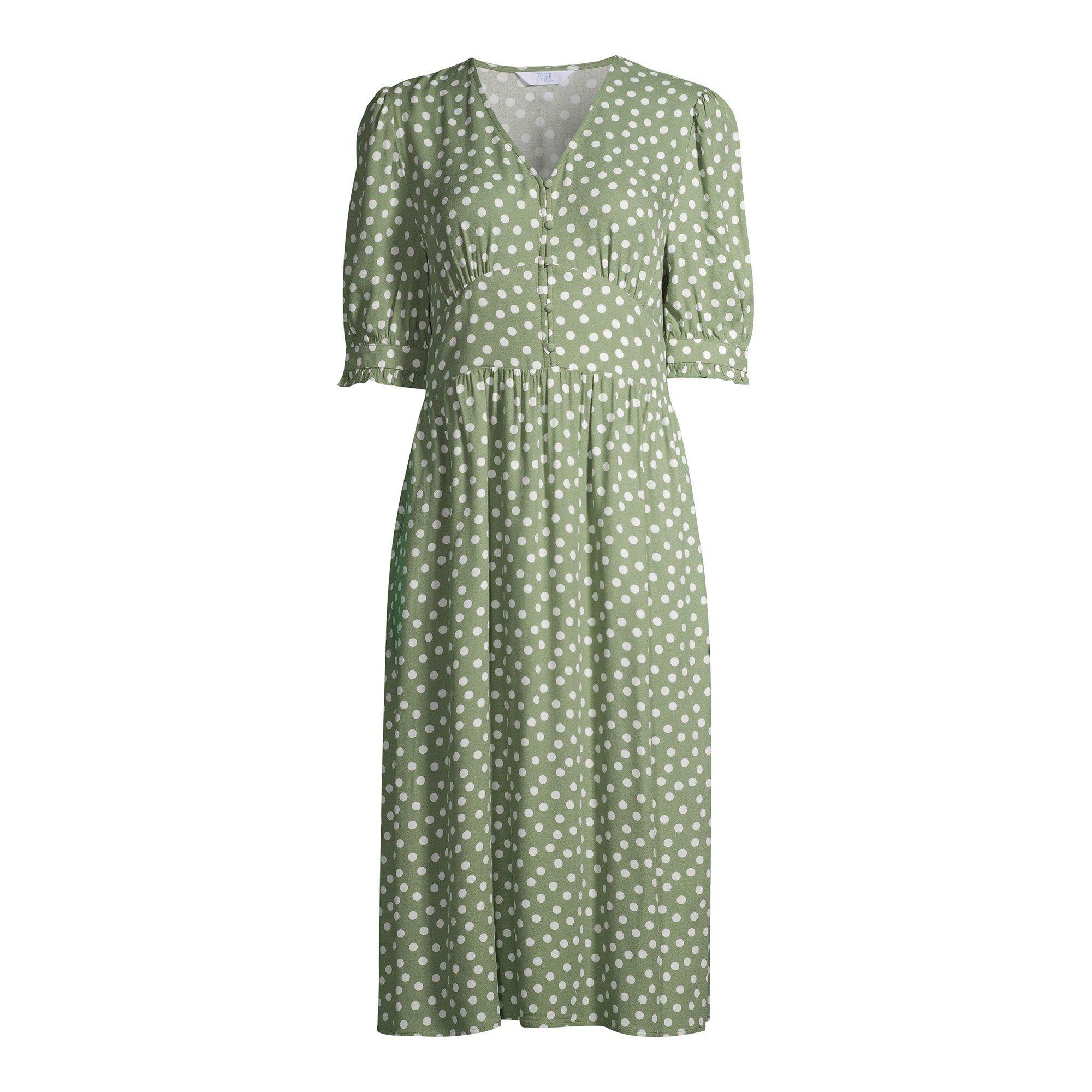 Time And Tru Time And Tru Women S Milkmaid Dress Walmart Com Walmart Com Womens Midi Dresses Dresses Simple Outfits [ 2000 x 2000 Pixel ]