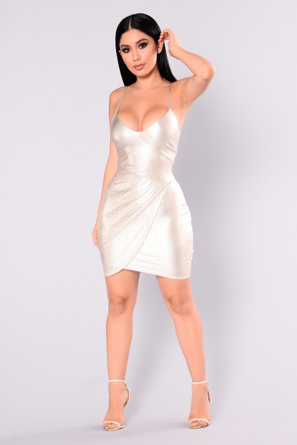 White Dress Fashion Nova Metallic dress, Fashion nova