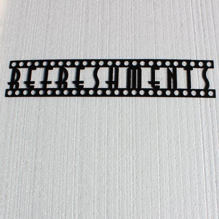 Refreshments Word in Film Font Home Theater Metal Wall