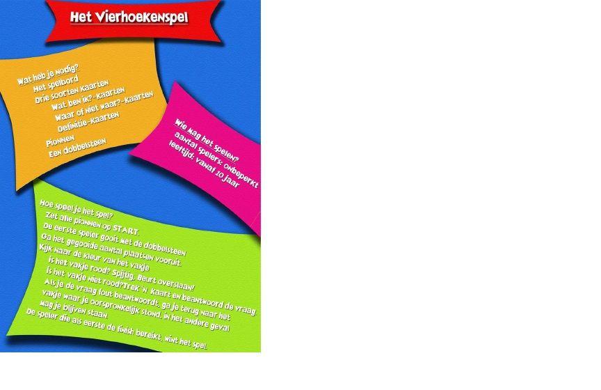 http://www.phl.be/lerarenopleiding/creatiefinwiskunde/Vierhoeken/Vierhoeken_materiaal-spel.pdf  Met het vierhoekenspel moeten kinderen vragen beantwoorden over vierhoeken. Wanneer ze de vraag juist hebben, krijgen ze een kaartje. Wie het meeste kaartjes heeft, wint.