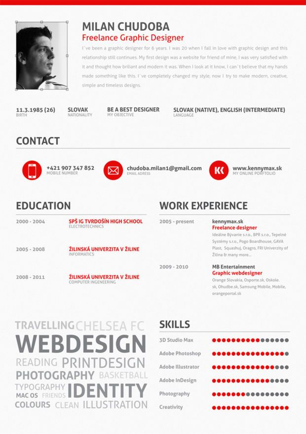 14 Stunning Examples of Creative CV/Resume Creative cv, Creative - graphic design invoice sample