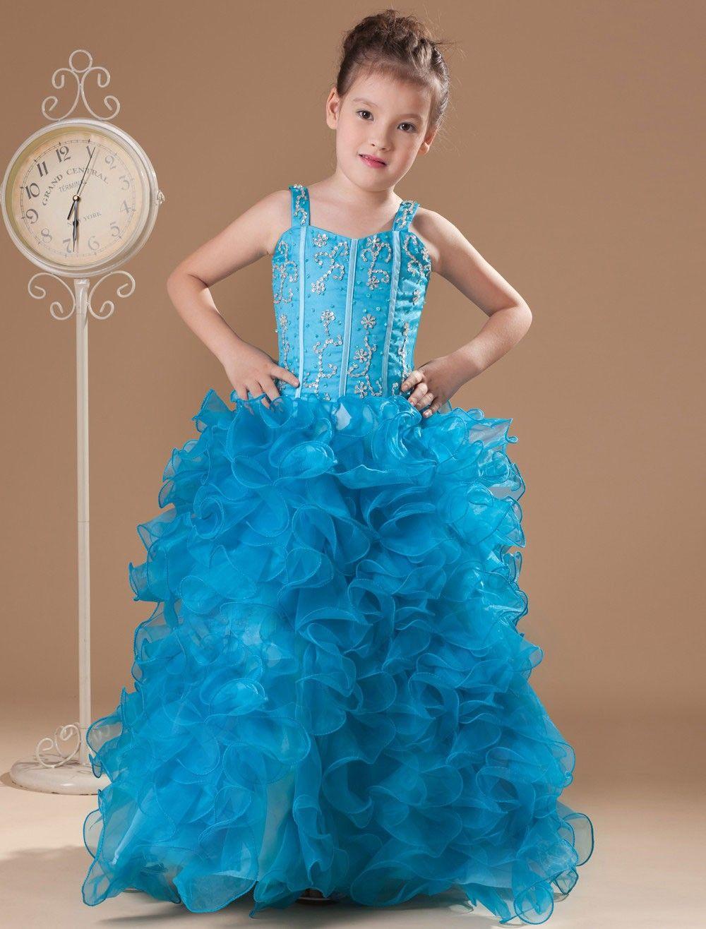 Great Blue Tulle Floor Length Little Girl's Dress