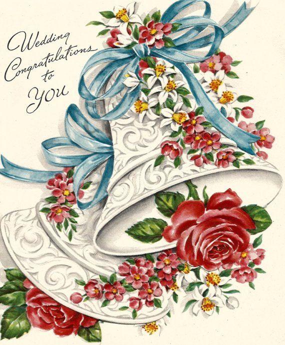 Vintage wedding congratulations greeting card bel flowers floral