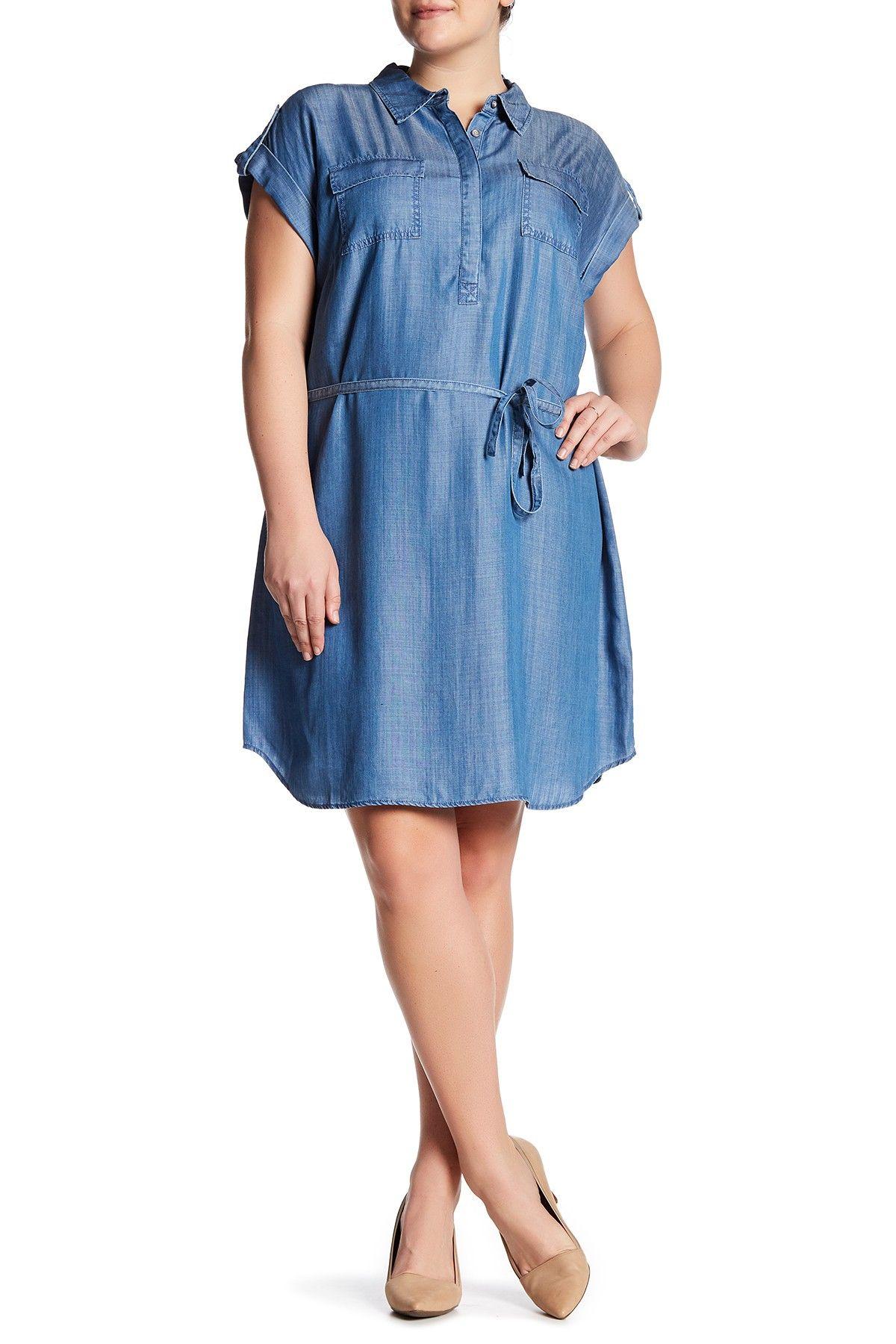 Rolled Short Sleeve Shirtdress (Plus Size)