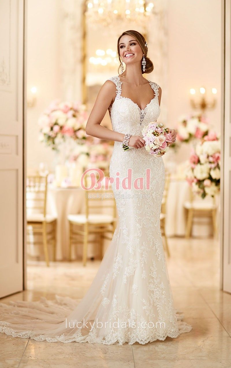 Open back queen anne neck allover lace stylish mermaid wedding dress