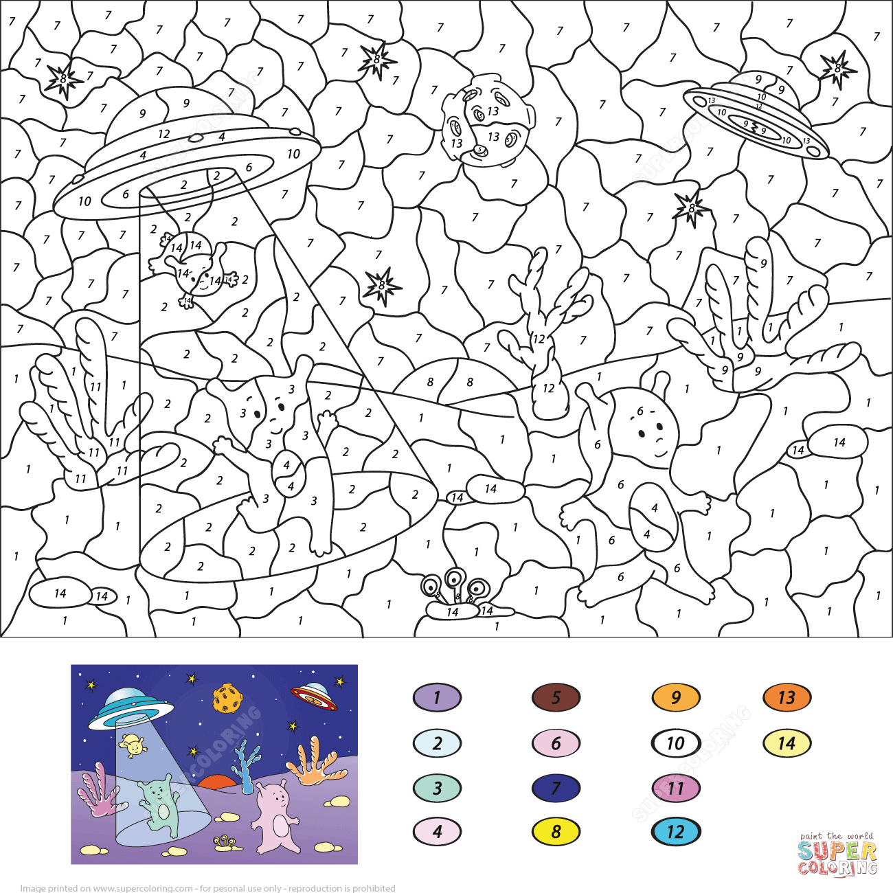 Cute Aliens Color By Number From Color By Number Worksheets Category Select Fro Free Printable Coloring Pages Free Printable Coloring Printable Coloring Pages