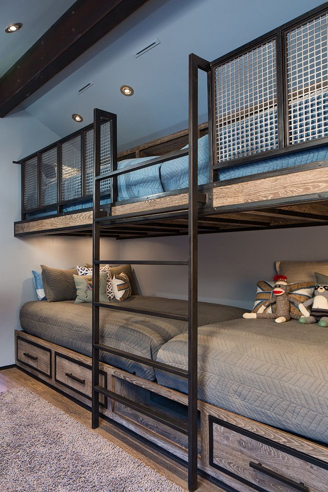 Built In Bunk Beds For A Rustic Kids With A Blue Bedding