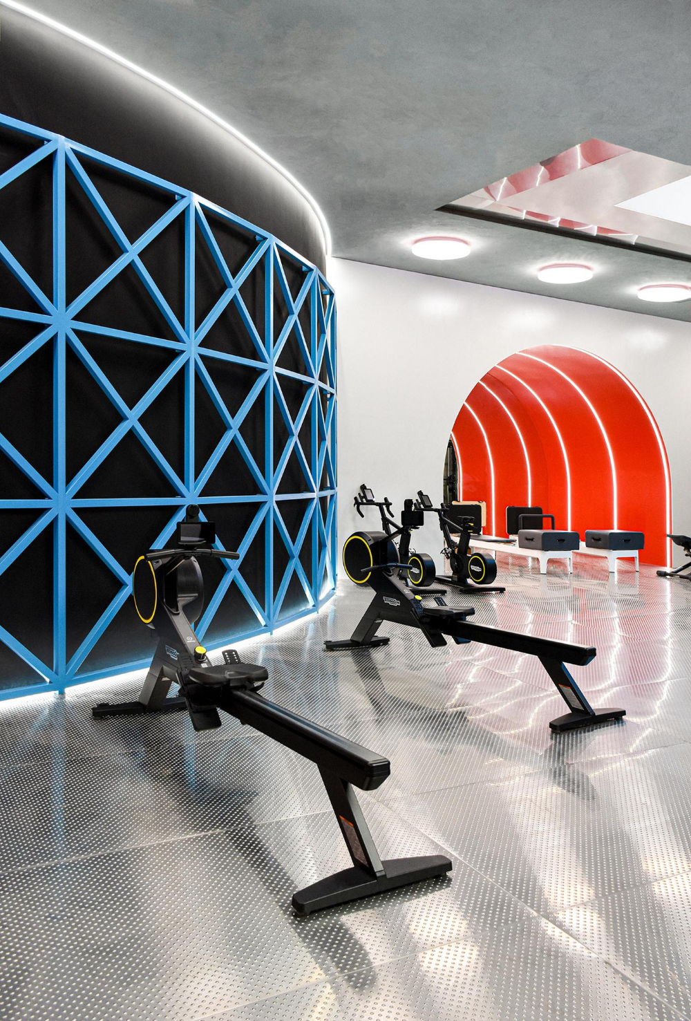 There Is A Conventional Training Area With Technogym Equipment Gym Design Slide Design Design Milk
