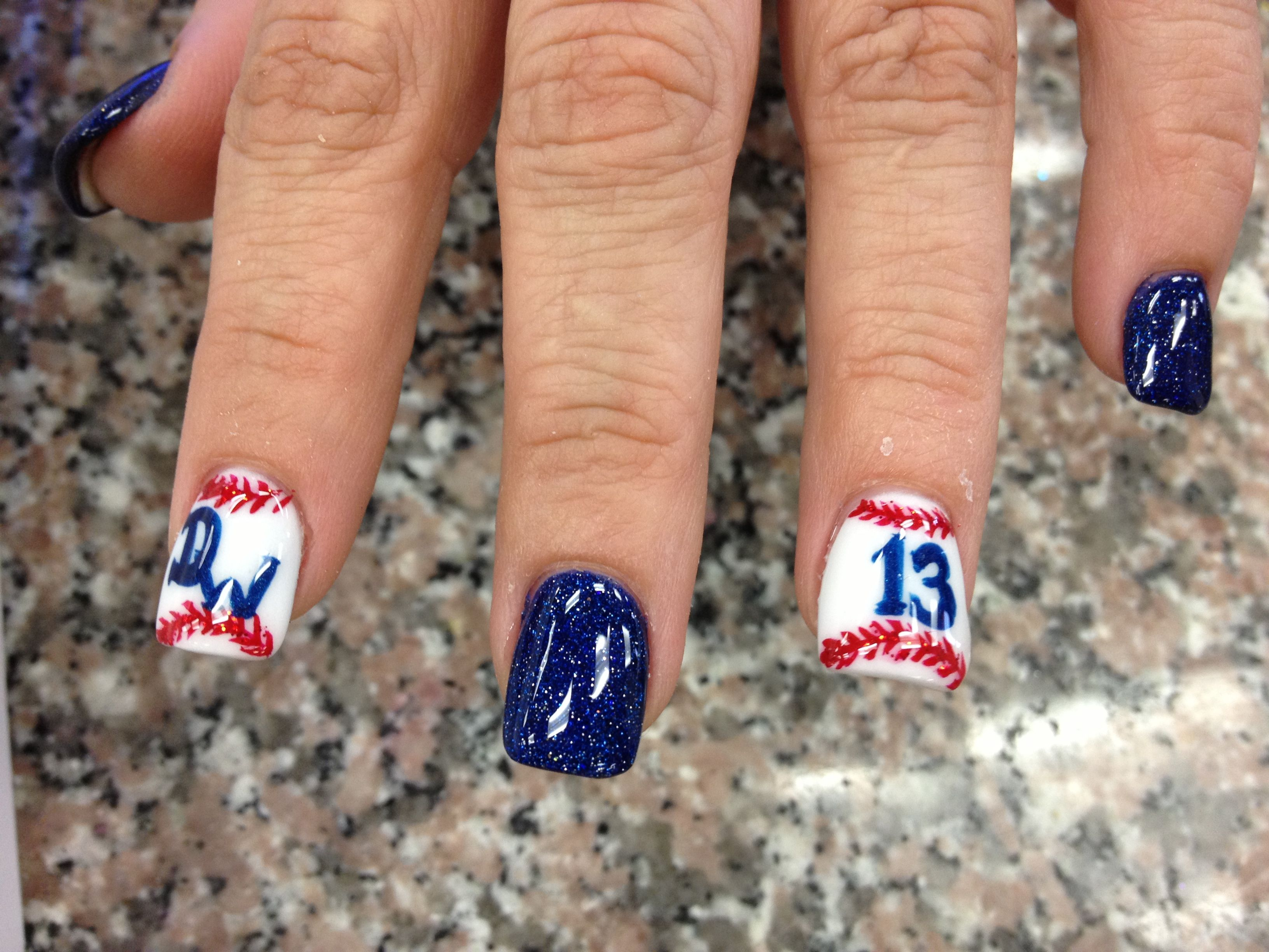 Baseball nail design. love this for this summer little league games ...