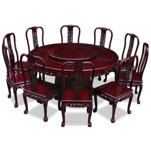 Hand Crafted 66in Imperial Dragon Design Rosewood Round Dining Table ...
