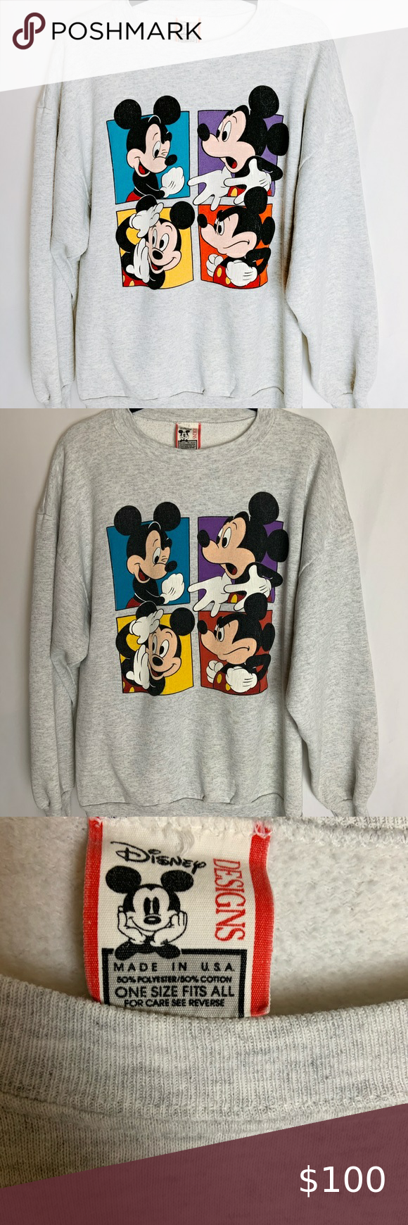 Vintage Disney Mickey Mouse Crew Neck Pink Crewneck Sweatshirt Crop Hoodie Sweater Disney Sweaters [ 1740 x 580 Pixel ]