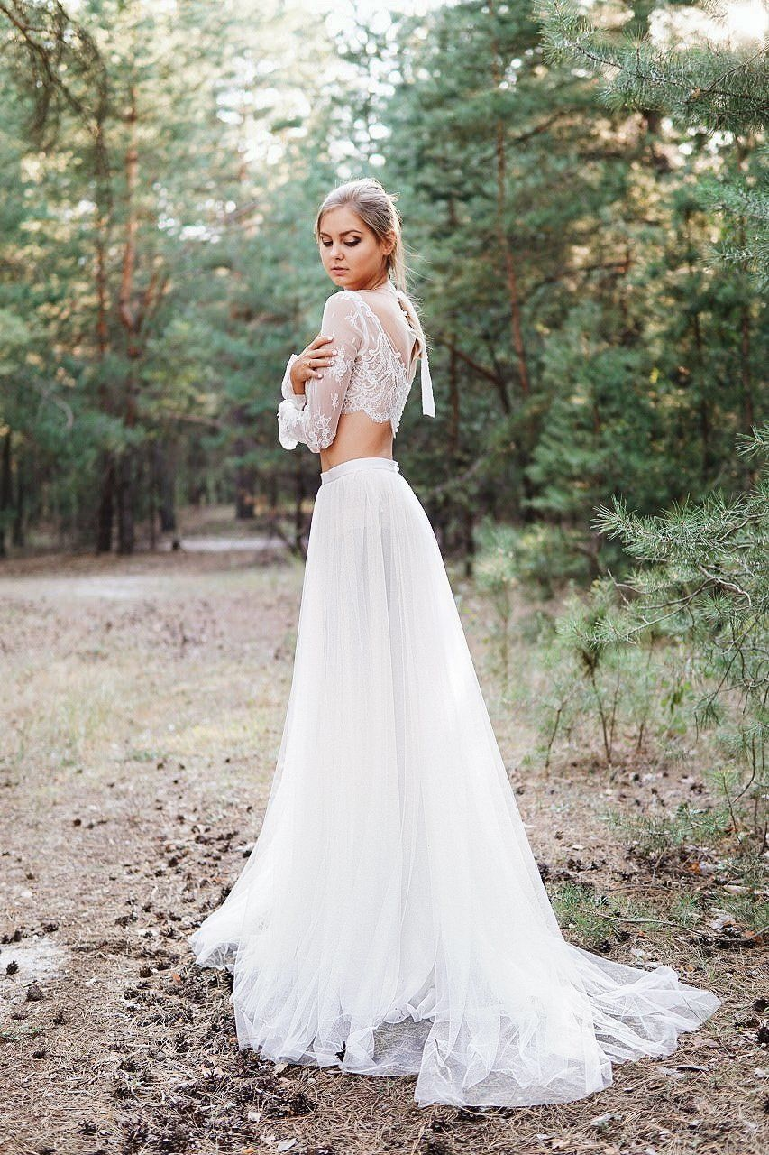 Antea Two Piece Wedding Dress Crop Top Wedding Dress Two Piece Wedding Dress Nontraditional Wedding Dress [ 1280 x 853 Pixel ]